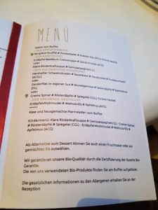 Speisekarte im Eschenhof